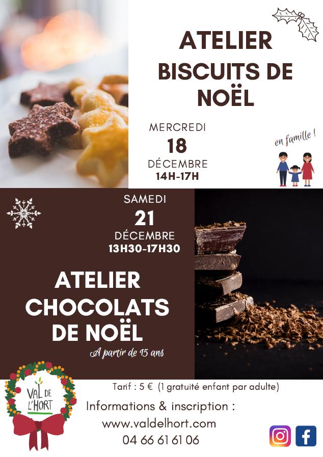 Affiche ateliers biscuits et chocolats de Noël Val de l'Hort